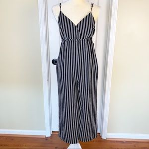 Hayden Black Striped Spaghetti Strap Jumpsuit Sz S
